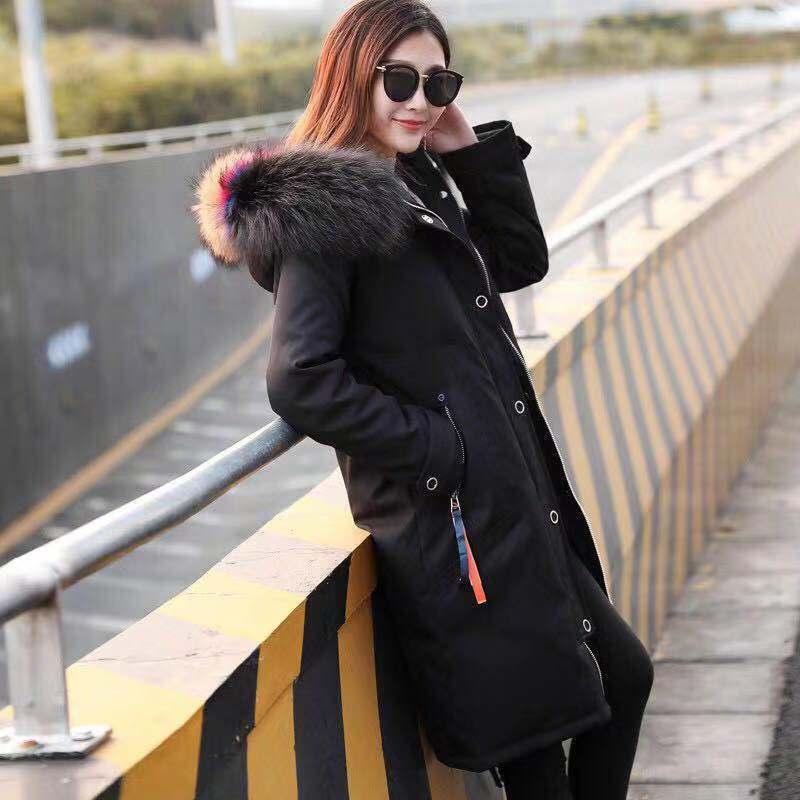 大毛领保暖羽绒棉服明星同款羽绒棉服女冬季中长款羽绒棉服学生