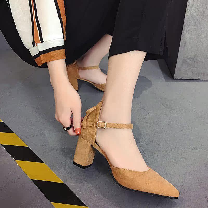 蝴蝶结尖头单鞋粗跟鞋一字扣带优惠价5元销量365件