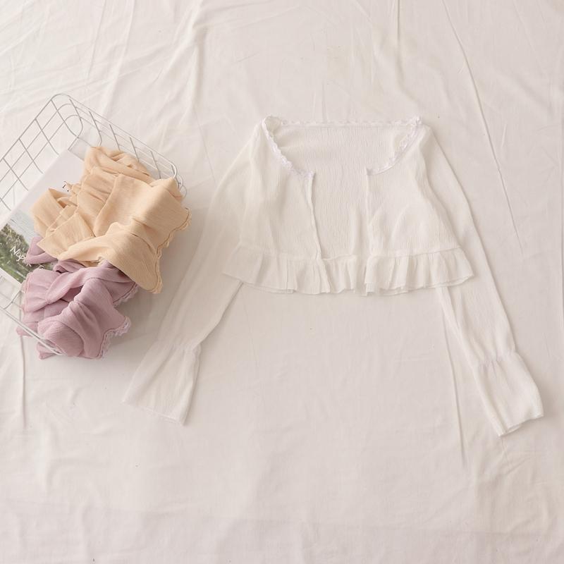 自制~夏季新款荷叶边拼接高腰短款复古微喇叭长袖开衫小外套罩衫