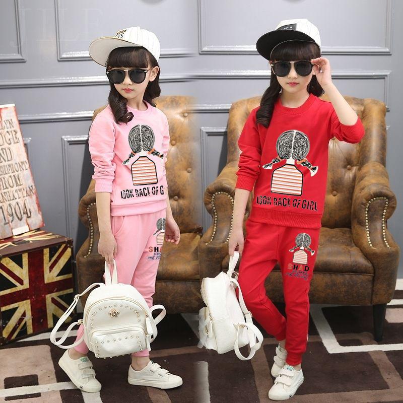 2018春秋新款童装女童小女孩衣服大童洋气运动两件套儿童时髦套装