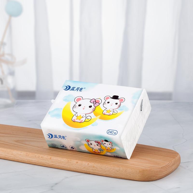 蓝月亮抽纸餐巾纸卫生纸巾婴儿擦手纸家用实惠装萌鼠系列32包整箱