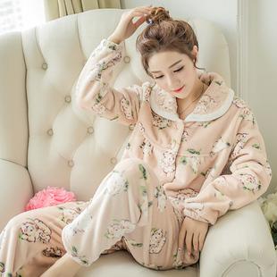 秋冬珊瑚绒睡衣女加厚保暖居服套装