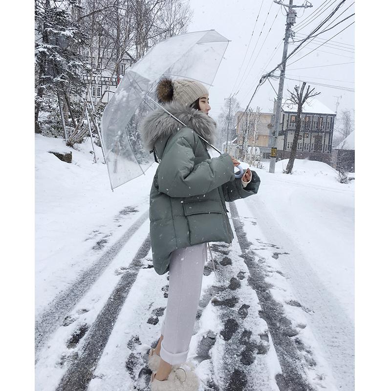 张贝贝ibell 冬季新款外套设计感女小众短款加厚貉子毛羽绒服