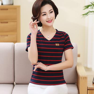 Trung niên và ngắn tay t-shirt nữ mùa hè mỏng phương thức mẹ áo loose từ bi trung niên kích thước lớn đáy áo sơ mi Áo phông