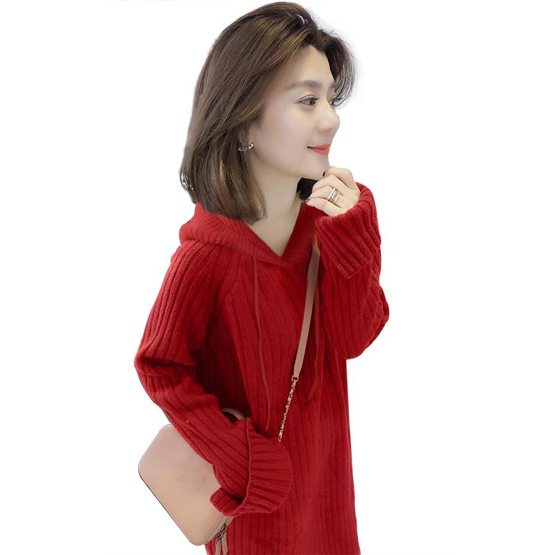 欧洲站秋冬装女2019新款欧货韩版红色宽松气质中长款厚针织连衣裙