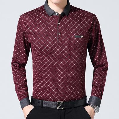 Mùa thu người đàn ông trung niên dài tay t-shirt dẫn túi người đàn ông trung niên của đáy áo t-shirt cotton t máu daddy áo oversize nam Áo phông dài
