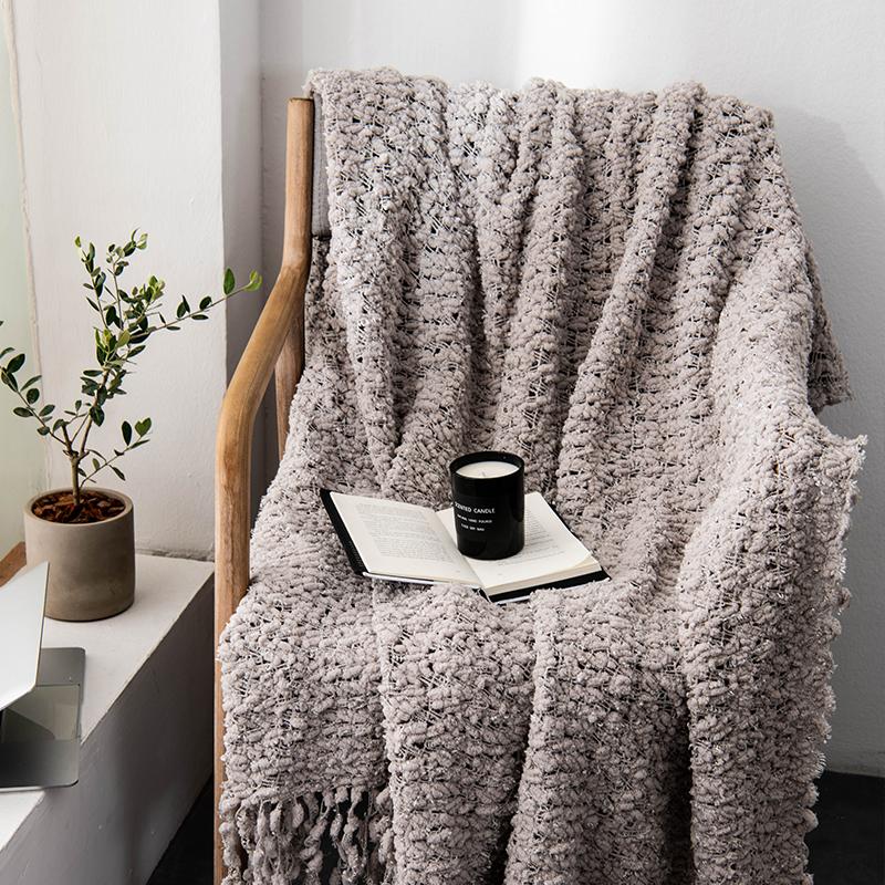 豆豆纱毛毯 单人办公室北欧风摄影搭配毯子 流苏日式简约风毯