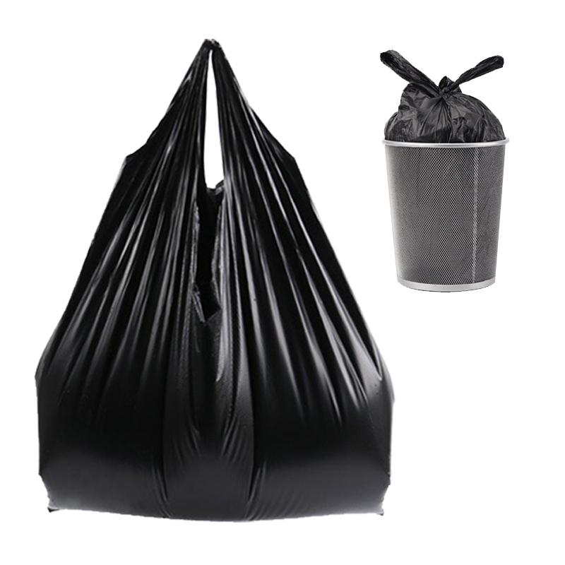 【提手黑色垃圾袋】居家办公厨房手提背心式中大号家用收纳塑料袋