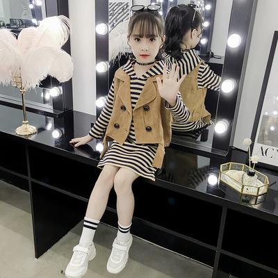 女童秋装套装新款洋气中大童时髦儿童装春秋马甲卫衣裙两件套