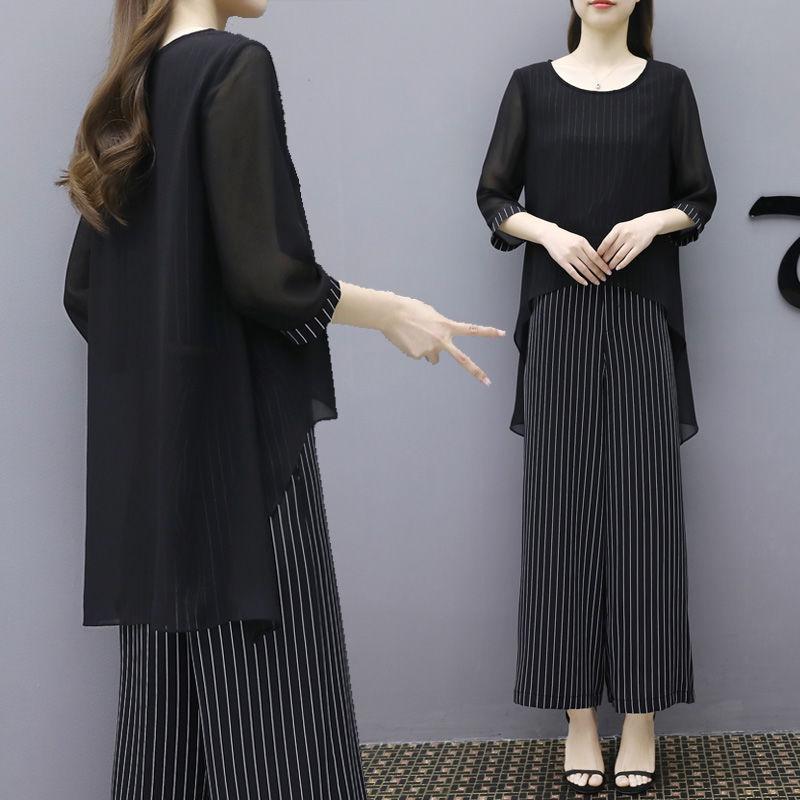 2020新款遮肚子夏季套装女夏洋气两件套阔腿裤女大码宽松显瘦雪纺