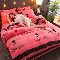 加厚珊瑚件套床上用品双面法兰绒加绒冬季宿舍床单被套三件套