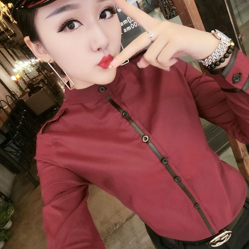 立领衬衫女春新款修身显瘦纯色棉弹力长袖打底衫职业衬衣