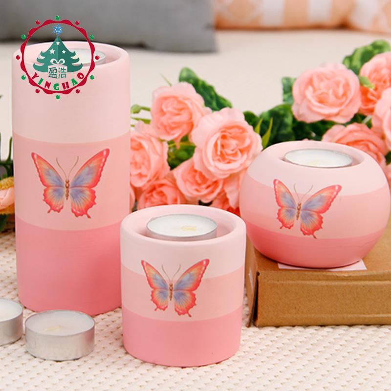 欧式家居装饰品蜡烛台浪漫婚庆餐桌烛光晚餐创意礼物粉色陶制摆件