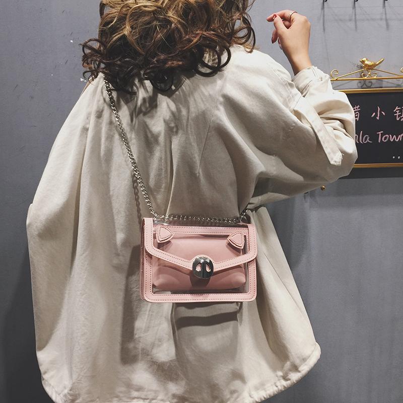 包包女包新款潮可爱单肩小猪包链条斜挎小方包透明果冻子母包
