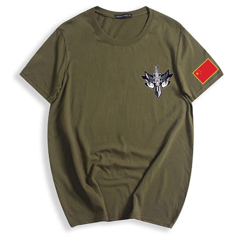 男士战狼短袖t恤男个性印花中国风圆领大码青年背心体恤特价半袖