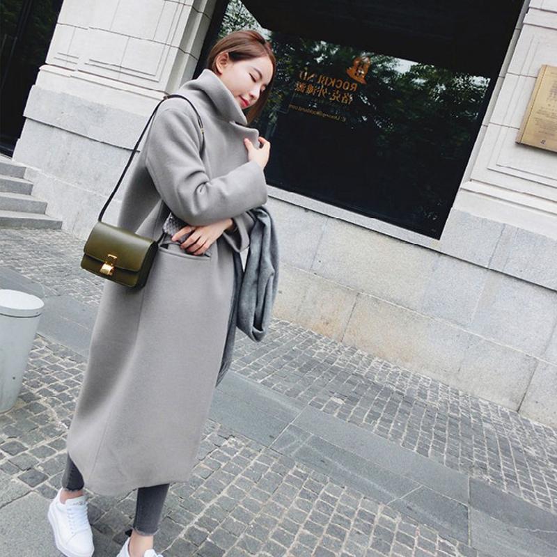 Mùa thu và mùa đông mặc mới của Hàn Quốc phụ nữ dày áo len nữ phần dài trên đầu gối áo len là mỏng triều mùa đông