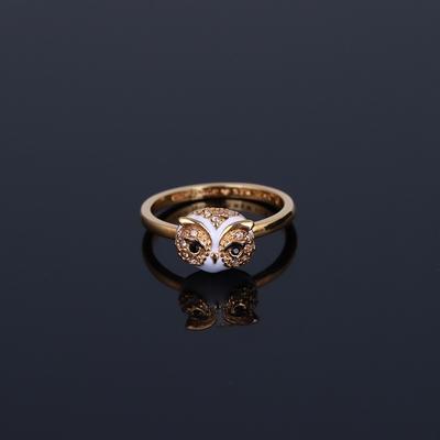 欧美设计师镀珐琅逼真猫头鹰镶钻星星月亮三件套可拆分戒指指环