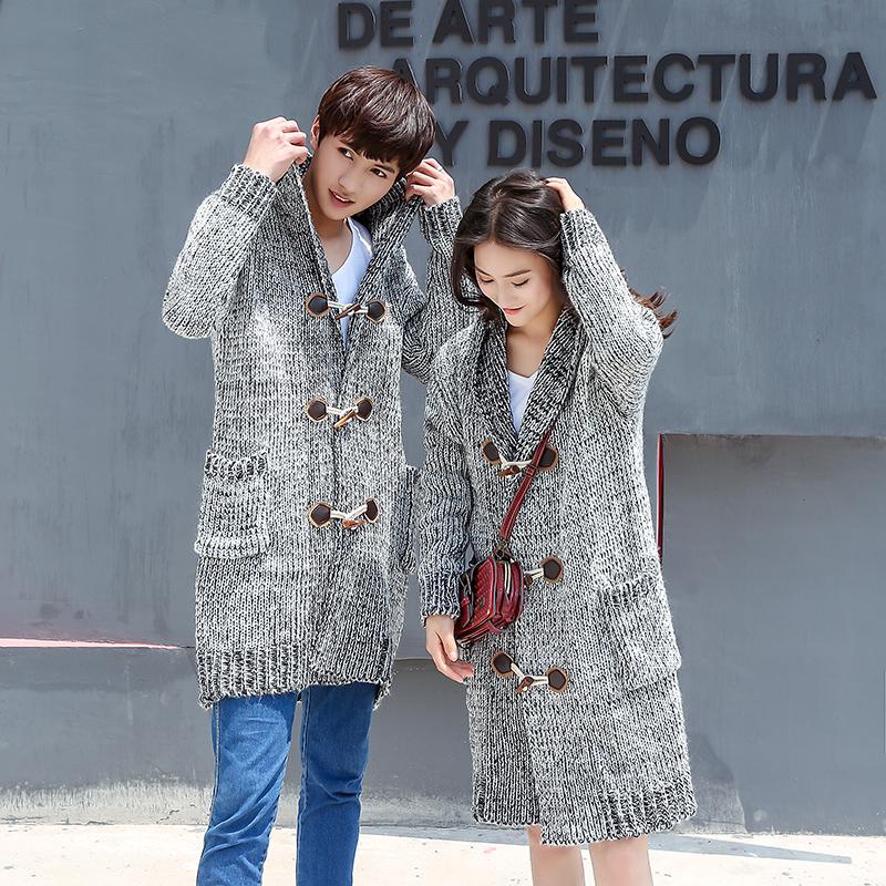 Mùa thu và mùa đông mặc áo len dài khí áo len áo len cardigan áo khoác trùm đầu Hàn Quốc vài mô hình áo len dày
