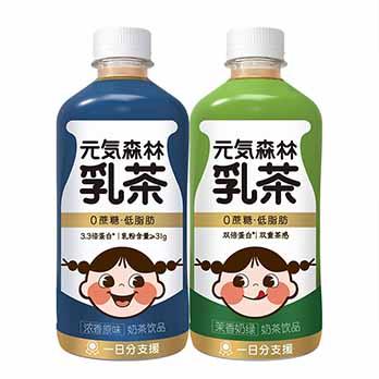 预售、低卡喝不胖的奶茶、新西兰奶源、3.3倍高蛋白:450mlx12瓶 元気森林 乳茶