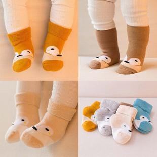 婴儿袜子冬天加厚毛圈全棉中筒袜宝宝保暖纯棉袜0-1-2岁女男童袜