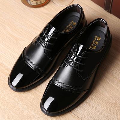 新款春夏季透气休闲男士皮鞋商务正装男皮鞋系带亮面尖头男皮鞋