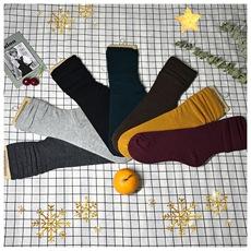 实拍  实价  多色堆堆袜女韩国秋冬中高筒毛线袜保暖长筒袜子