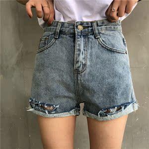 实拍#夏装2018新款女休闲短裤高腰破洞牛仔短裤ulzzang女热裤