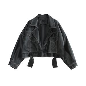 2018 mới mùa thu Hàn Quốc phiên bản của sinh viên bf Harajuku lỏng màu đen ve áo mở dòng trang trí pu leather coat ngắn nữ