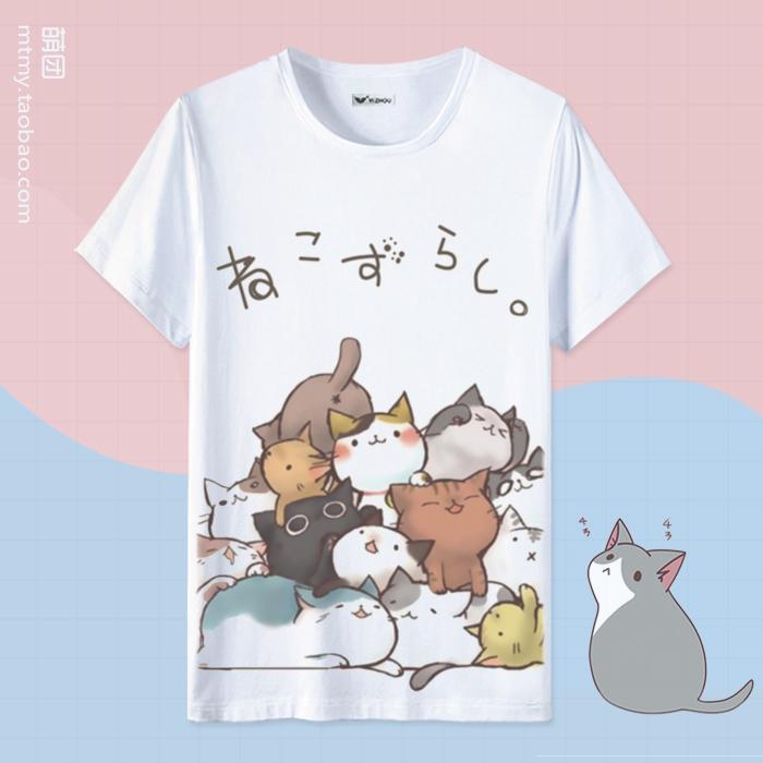 Mèo Sân Sau T-Shirt Ngắn Tay Áo Phim Hoạt Hình Dễ Thương Demi Anime Khoảng Hai Nhân Dân Tệ Quần Áo Nam Giới và Phụ Nữ Tops Mùa Hè