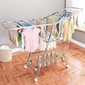 晾衣架落地折叠室内不锈钢家用阳台凉衣架杆婴儿翼型晾晒被子神器