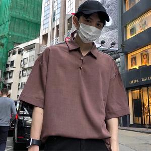 18夏装新款 丝滑舒适 复古港风 男潮宽松短袖衬衫C05-P55控69