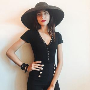 MFHK Haute Couture Kim loại cổ điển khóa đàn hồi Threaded T-Shirt! Sexy và thời trang ~ thoải mái và linh hoạt