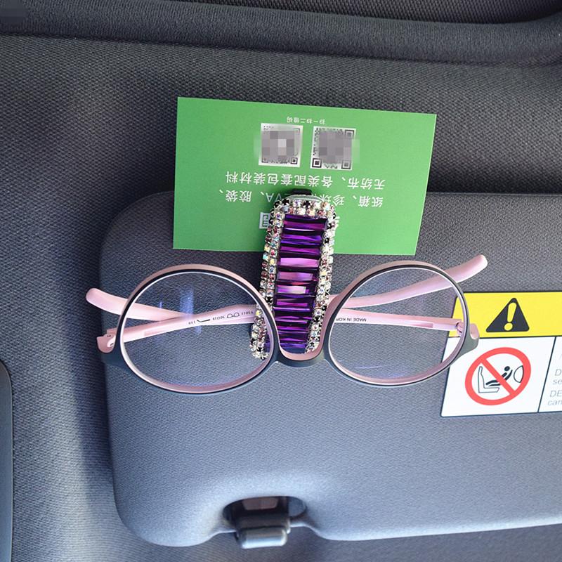 水晶镶钻车用眼镜夹汽车眼镜夹天窗遮阳板墨镜架车载卡片票据夹