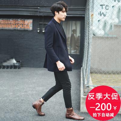 Đôi phải đối mặt với cashmere áo khoác nam thời trang Hàn Quốc kinh doanh len giản dị Nizi phù hợp với mùa thu và mùa đông áo khoác Nizi Áo len