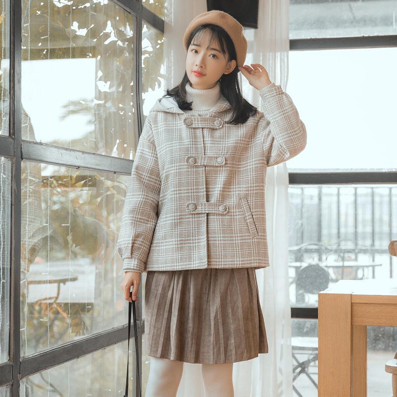 2018 mới mùa đông retro kẻ sọc Sen áo len nữ ngắn nhỏ trùm đầu sinh viên áo len