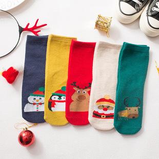 儿童袜子可爱卡通圣诞袜秋冬小雪人