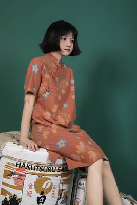 Hẹ Gốc Tự Chế Nhật Bản Retro Thực Vật In Bông Sửa Đổi Nút Sườn Xám Váy váy đầm