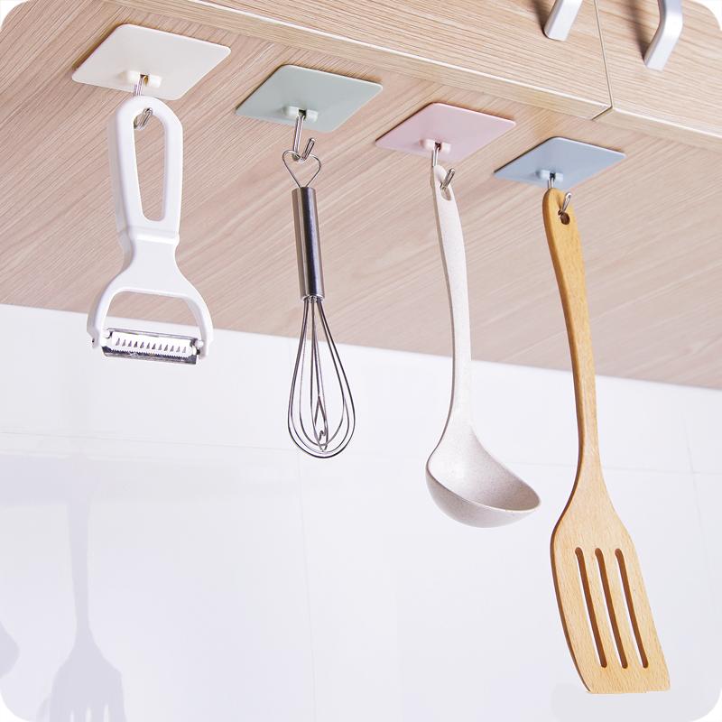 创意素色方形免钉强力粘胶挂钩厨房墙壁无痕挂钩浴室粘钩门后挂钩