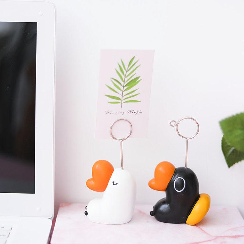 创意可爱鹅鹅鹅造型便签夹 留言夹名片夹 树脂小摆件照片夹