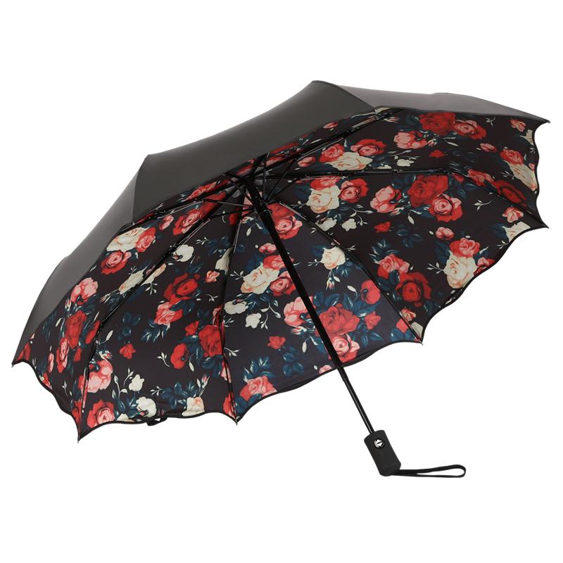 遮阳伞晴雨两用太阳伞防晒防紫外线黑胶全自动折叠韩版女神upf50