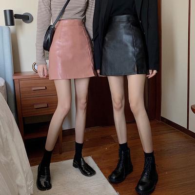 Váy bó/Váy ngắn/Chân váy/Váy chữ A nữ, tôn dáng, màu đen, cạp cao, da nhân tạo, phong cách Hàn Quốc, dễ kết hợp, phù hợp cho mùa xuân