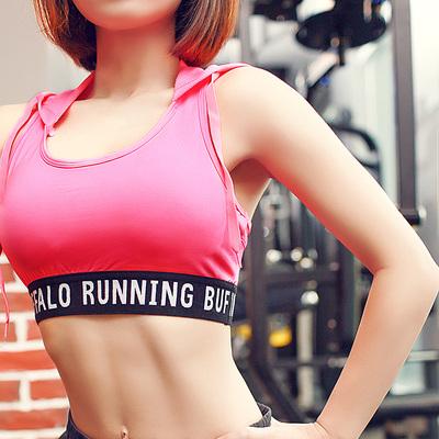 新款春季学生运动型文胸女跑步防震大码无钢圈背心式健身内衣带帽