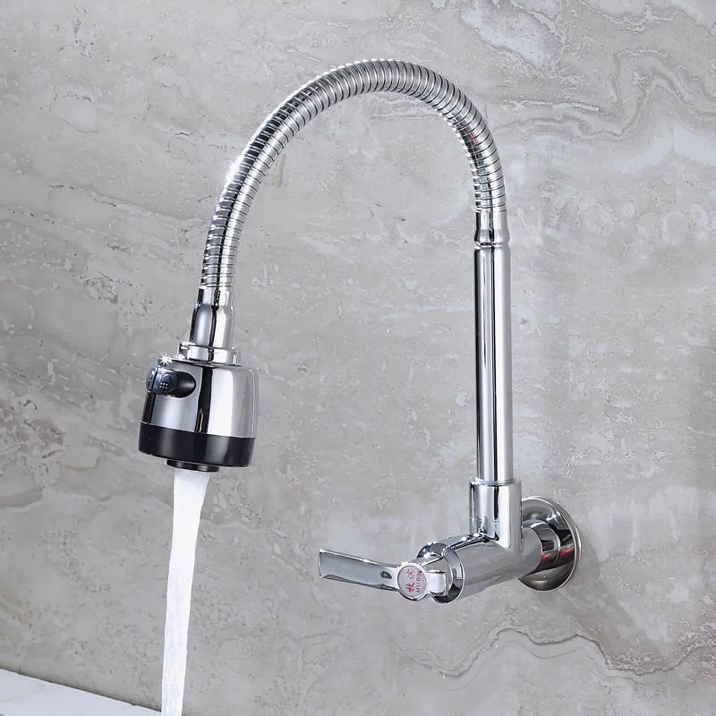 全铜厨房龙头 单冷水槽洗衣池入墙式水龙头 洗菜盆洗脸盆面盆龙头