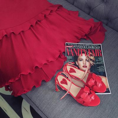 孕妇装夏季新款中长款宽松上衣荷叶边正红色孕妇连衣裙夏装潮