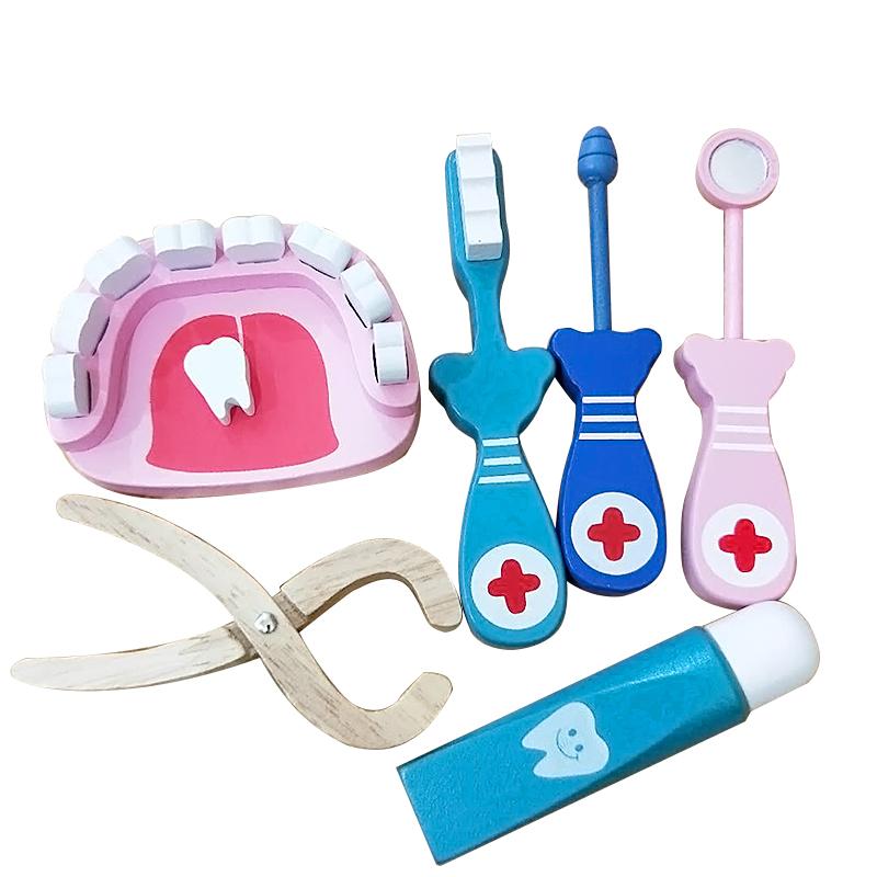 牙齿玩具木制牙医六件套