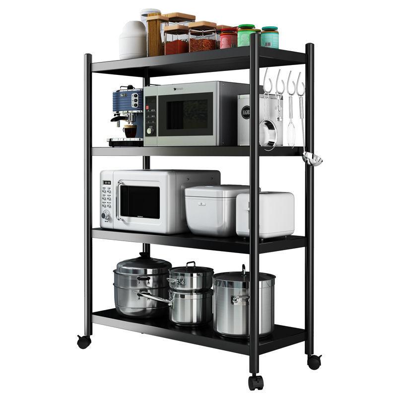 厨房置物架落地多层微波炉架厨房用品收纳架放锅储物架加厚烤漆