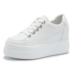 新款韩版厚底松糕底内增高小白鞋