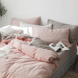 Tinh khiết màu rửa bông bốn mảnh bông cotton đơn giản cô gái tim bộ đồ giường sheets quilt cover giường ba mảnh