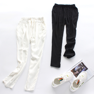Mùa hè phụ nữ bông lụa hậu cung quần bông lanh quần âu màu đen và trắng là mỏng Hàn Quốc phiên bản của chín quần quần chân bút chì quần