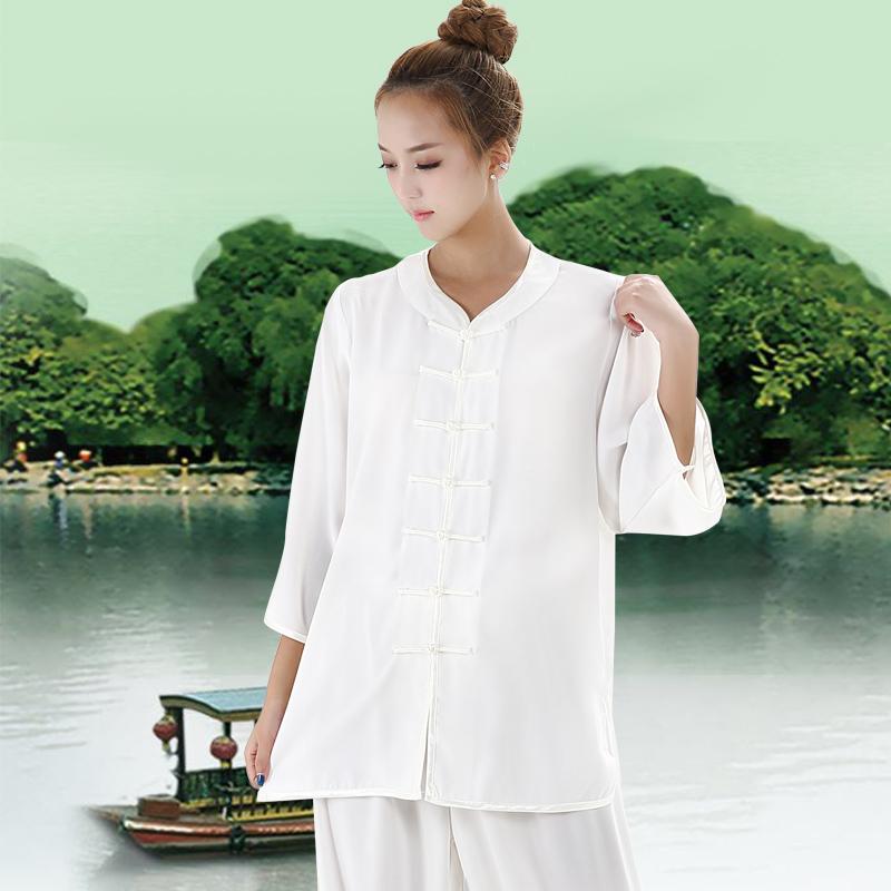 太极服女夏季棉麻加丝短袖低领中老年中国风成人武术拳练功夫服裤